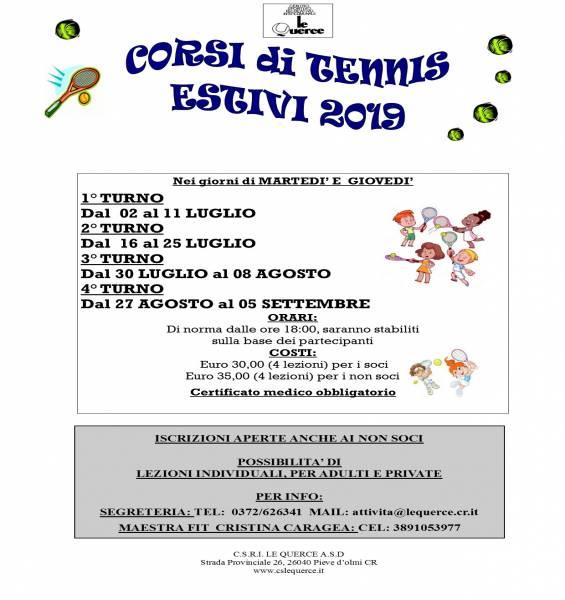 CORSI DI TENNIS ESTIVI 2019