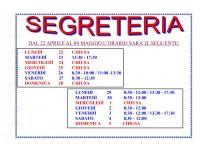 VARIAZIONE ORARIO SEGRETERIA DAL 22/04 AL 05/05/2019