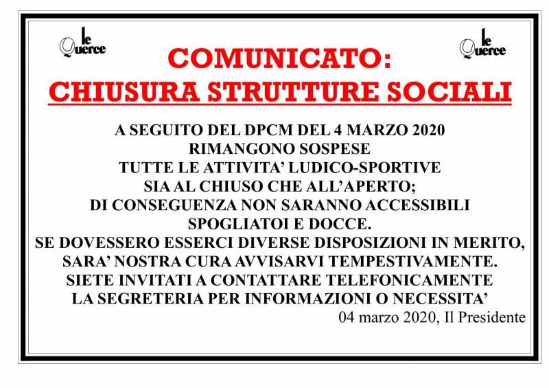 CHIUSURA STRUTTURE SOCIALI
